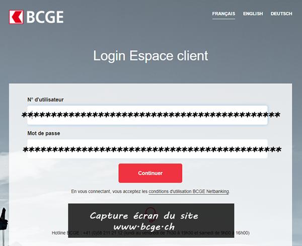 accéder à votre compte BCGE Net banking