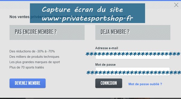 se connecter sur Private Sport Shop Mon compte