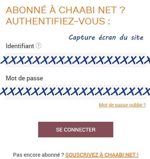 Banque chaabi net en ligne : Accès à mon compte