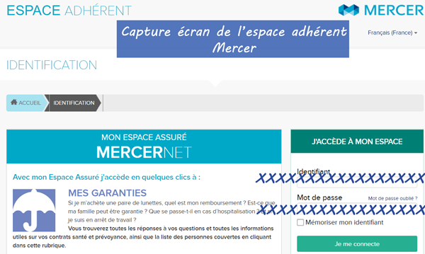Les étapes d'accès client à mon compte Mercer Mutuelle
