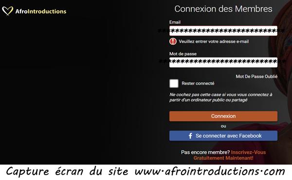 s'inscrire sur AfroIntroduction.com