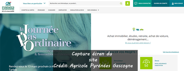 portail portail www.credit-agricole.fr/ca-pyrenees-gascogne/particulier (anciennement www.lefil.com)