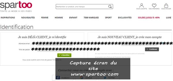 login et Suivi de commande sur le site www.spartoo.com
