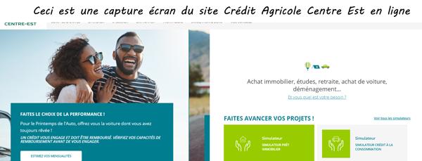 page d'accueil Crédit Agricole Centre Est
