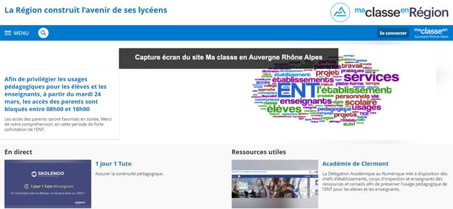 Ma classe en Auvergne Rhône Alpes Connexion sur PC et Application