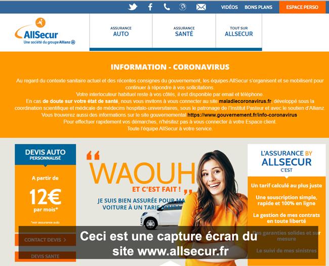 connexion à mon compte Allsecu sur le site de l'assurance