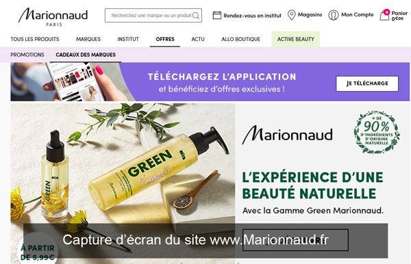 le site de parfumerie : Marionnaud.fr