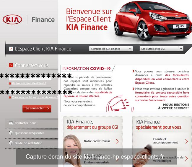 site Kia Finance (kiafinance-hp.espace-clients.fr)