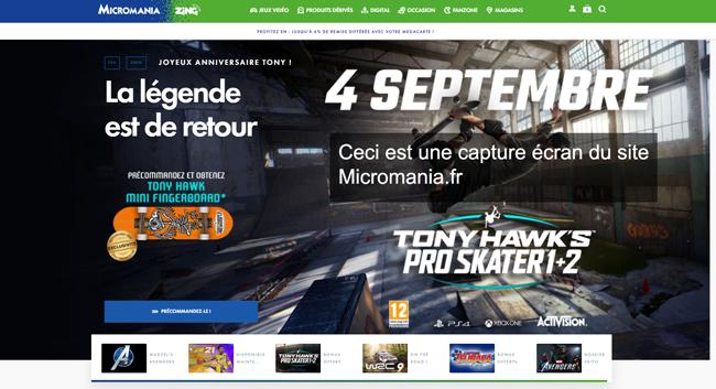 le site de la boutique de jeux Micromania