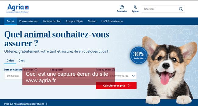le site de l'assurance animaux agria : www.agria.fr
