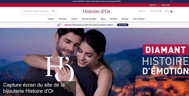 le site de la bijouterie en ligne Histoire d'Or