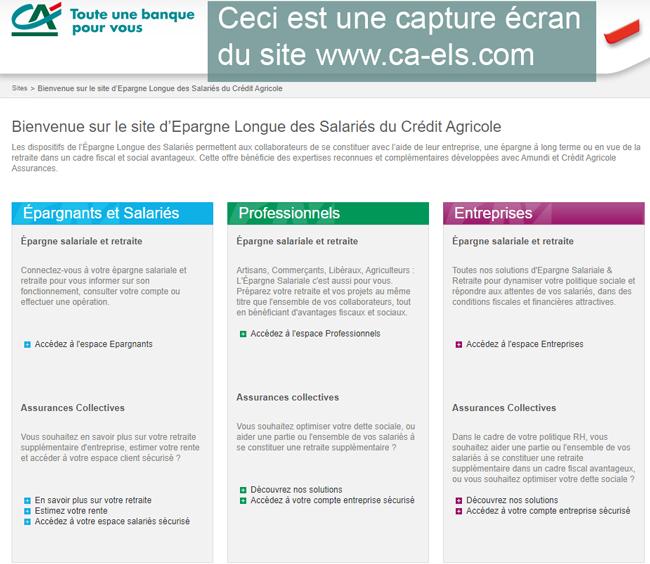 le site d'Epargne Longue des Salariés Crédit Agricole