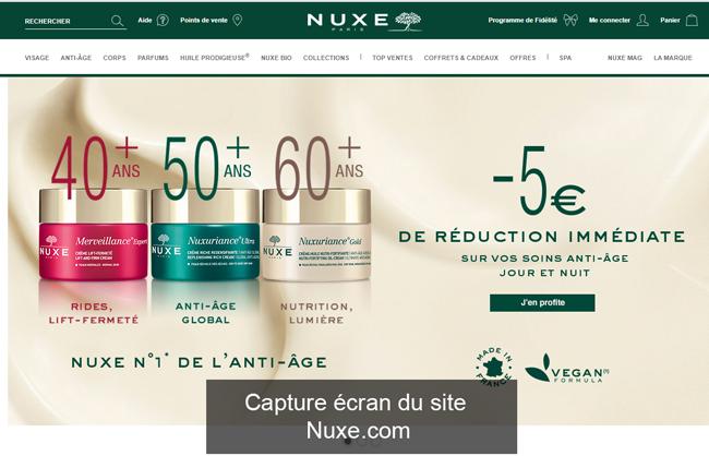 le site de beauté de la marque Nuxe France