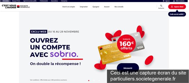 le site Société Générale Particulier : particuliers.societegenerale.fr