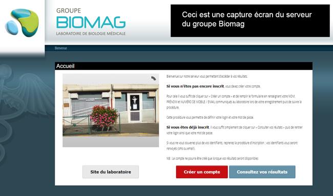 le serveur d'authentification biomag.mesresultats.fr/login