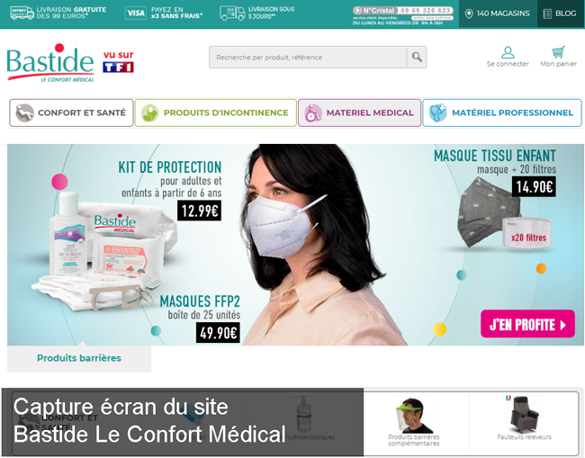le site de Bastide Le Confort Médical