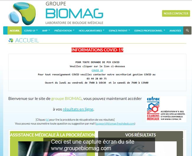 le site du laboratoire www.groupebiomag.com