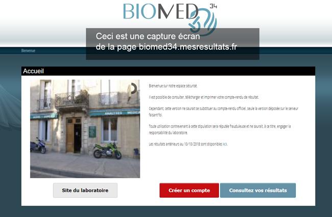 connexion à mon compte biomed34.mesresultats.fr