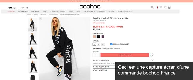 commander sur le site boohoo.com