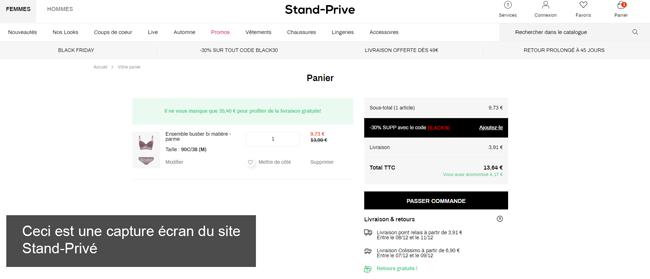 Passer une commande sur le site Stand Privé