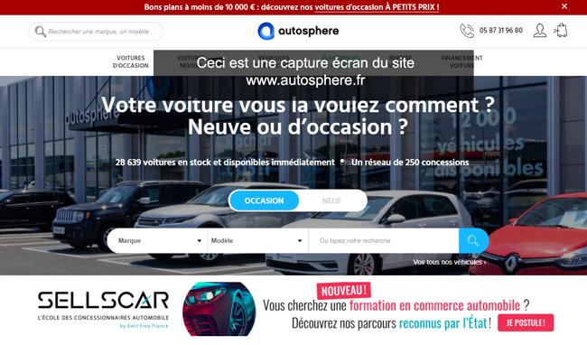 Accès Mon Compte Autosphere Financement sur le site www.autosphere.fr