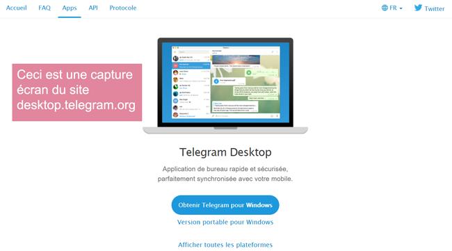 desktop.telegram.org : site pour utiliser telegram pour pc