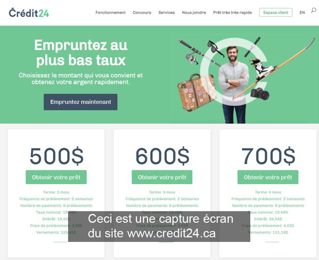 se connecter sur le site le site www.credit24.ca