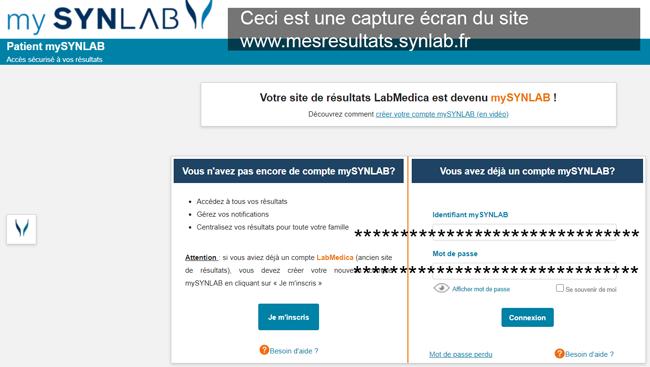 se connecter à mon compte mesresultats.synlab.fr