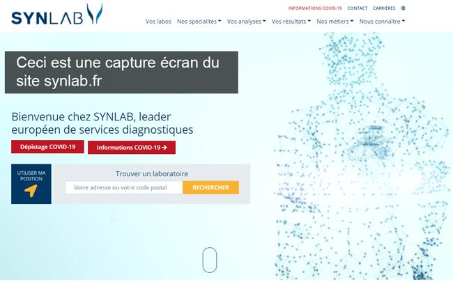 le site du laboratoire synlab.fr