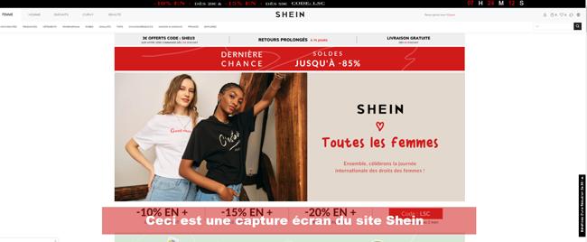 page d'accueil du site Shein.com