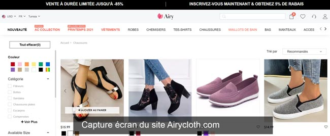 Airycloth ma commande en ligne