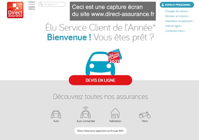 accès à l'espace personnel sur le site www.direct-assurance.fr