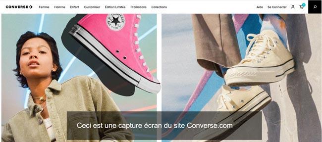 commander sur le site converse.com