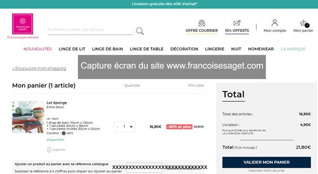 passer une commande sur www.francoisesaget.com