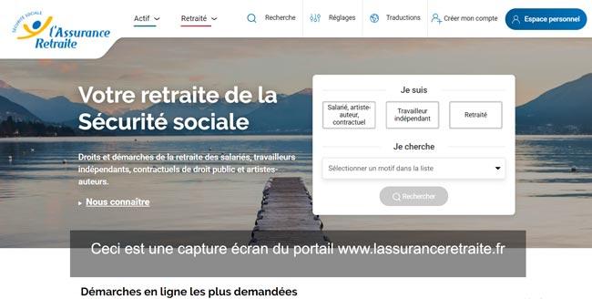 accès à l'espace personnel sur le site www.lassuranceretraite.fr