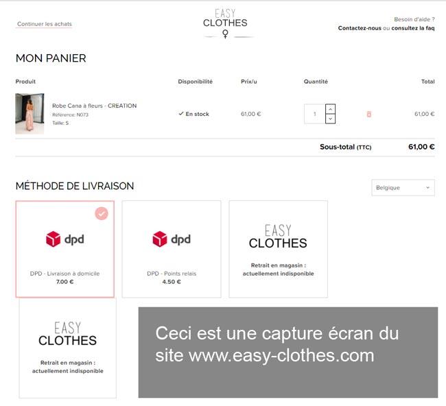 passer une commande sur le site www.easy-clothes.com