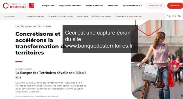 se connecter à mon compte sur le site banquedesterritoires.fr