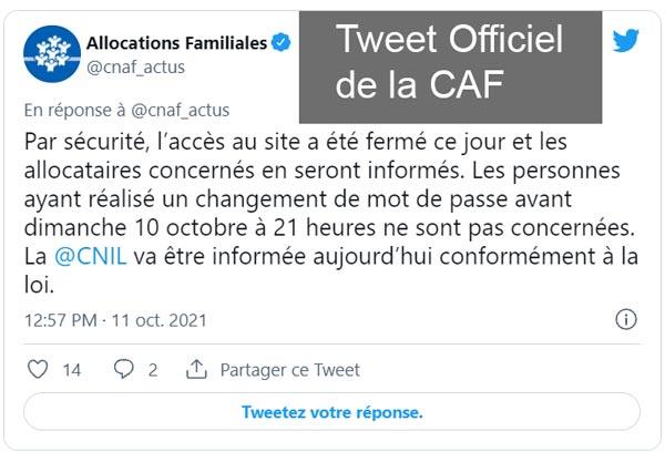 le site CAF ne fonctionne pas