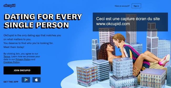 connexion sur le site de rencontre www.okcupid.com